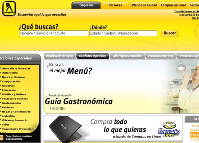 Caveguias, Páginas Amarillas en el celular 0